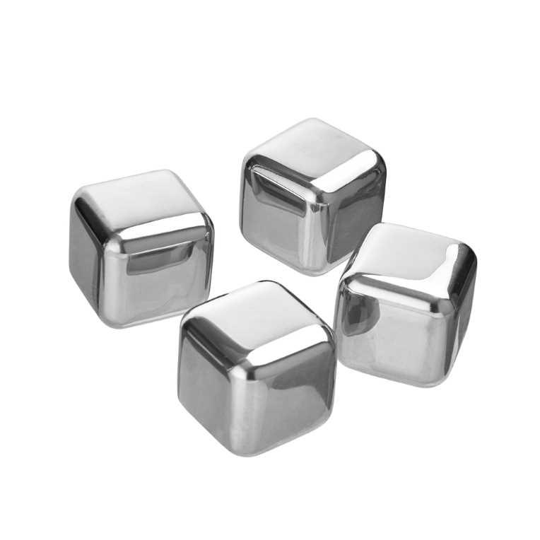 Кубики для охолодження напоїв 2,5х2,5х2,5см (1наб-4шт), срібні
