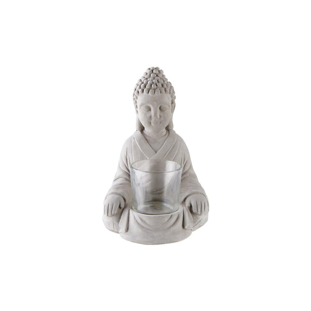Декоративний підсвічник будда 12х12,5х16,5см, сірий