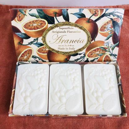 Изображение Мыло с ароматом апельсина SAF-PROFUMI DEL SOLE (Orange)  Набір 3 шт. V:125 гр. SAF-S178