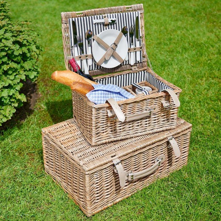 Зображення Кошик для пікніка з приборами на 4 персони плетений A DAY IN THE PARK Бежевий 55х37х21 см. 10192084