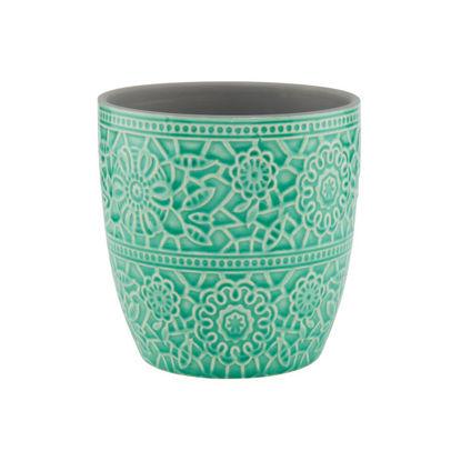 Изображение Горшок для цветов BLOOMY Зеленый 13.5x13.6 см. O:13.5 см. H:12.8 см. L:13.5 см. 10209443