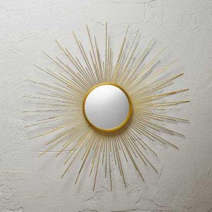 Зображення Дзеркало в золотій рамці BOHO Золотий O:18.5 см. 10213727
