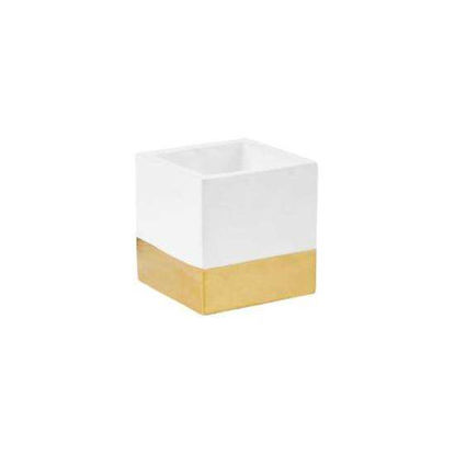 Изображение Горшок для цветов GOLDEN TOUCH Белый в сочетании H:9 см. 10218634