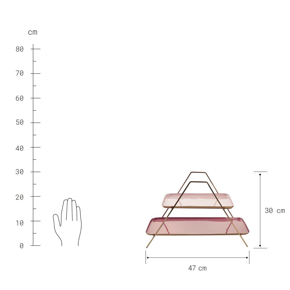 Зображення Блюдо в три яруси EMILIE Золотий в поєднанні 47х19х30 см. H:30 см. L:47 см. 10219706
