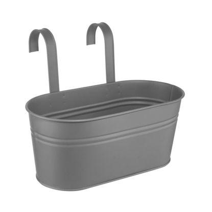 Зображення Відерце підвісне ZINC Сірий 33х15.5х14 см. H:15.5 см. L:33 см. 10223891